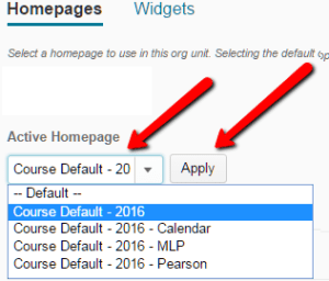Changing a Homepage in D2L