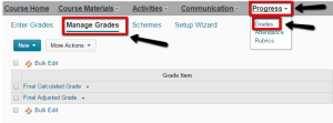 Screenshot showing how to access manage grades in D2L