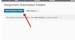 "Button named ""New Submission Folder"" under Assignments"