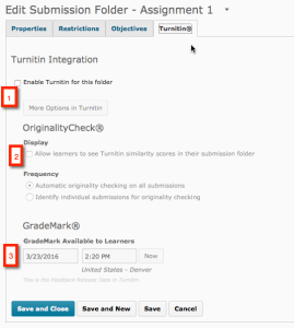 New Submission Folder, Turnitin tab