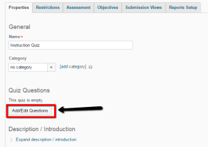"Screenshot showing Quiz Properties in D2L with ""Add/Edit Questions"" button highlighted"