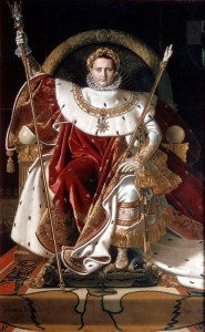Painting of Napoleon I on a throne
