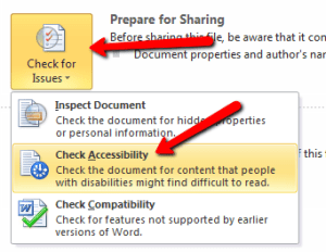 Checking Accessibility in Microsoft Office