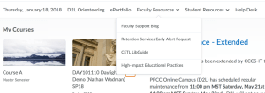 My Home Navigation with Faculty Resources expanded