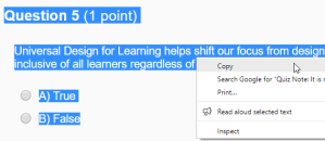 Screenshot showing highlighted text selected in a D2L Quiz, with the right-click menu