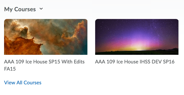 Daylight My Courses widget without any filters