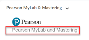 Screenshot of the Pearson Widget in D2L with the link to MyMathLab highlighted