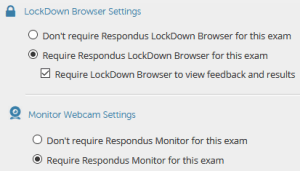 Turning on Respondus LockDown Browser and Monitor for a quiz in D2L