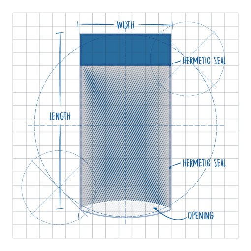 Header Pouch PPC Flexible Packaging Product Blueprint, Hermetic Seal, Length Opening,,