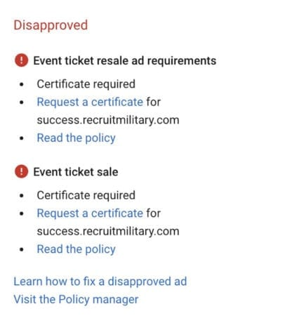 Google Ads Policy Disapproval