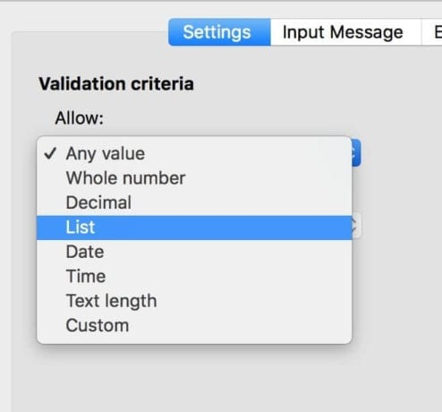 data validation options in excel