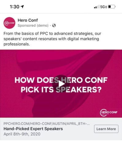 facebook ad live example