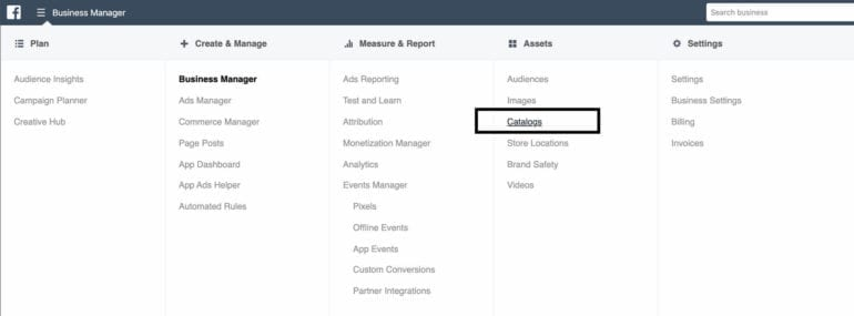 How to access Catalog in Facebook Business Manager