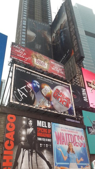 Billboards of plays/shows at Broadway