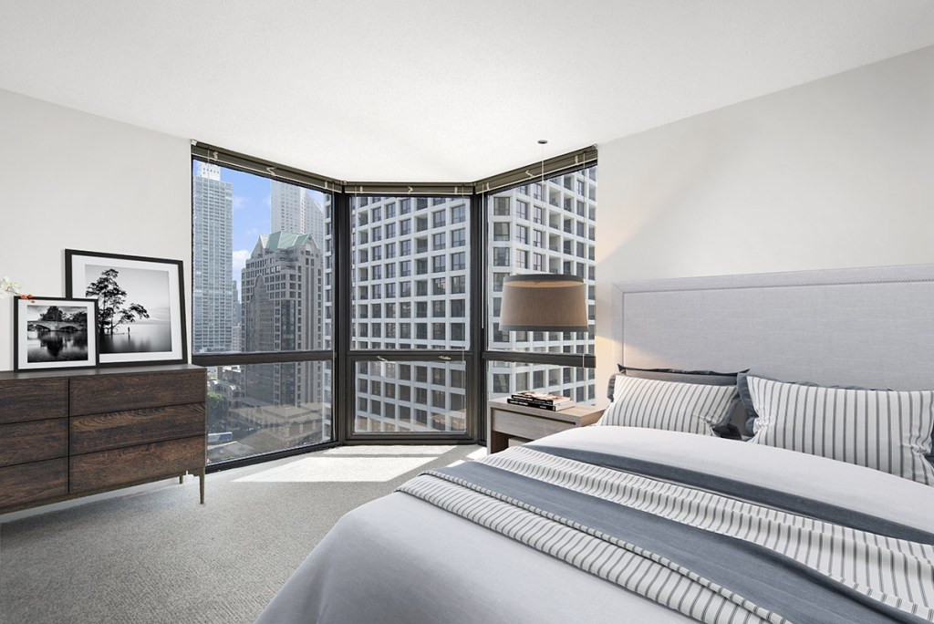 1111 N Dearborn Bedroom with View Interior Chicago Apartments Gold Coast - 1