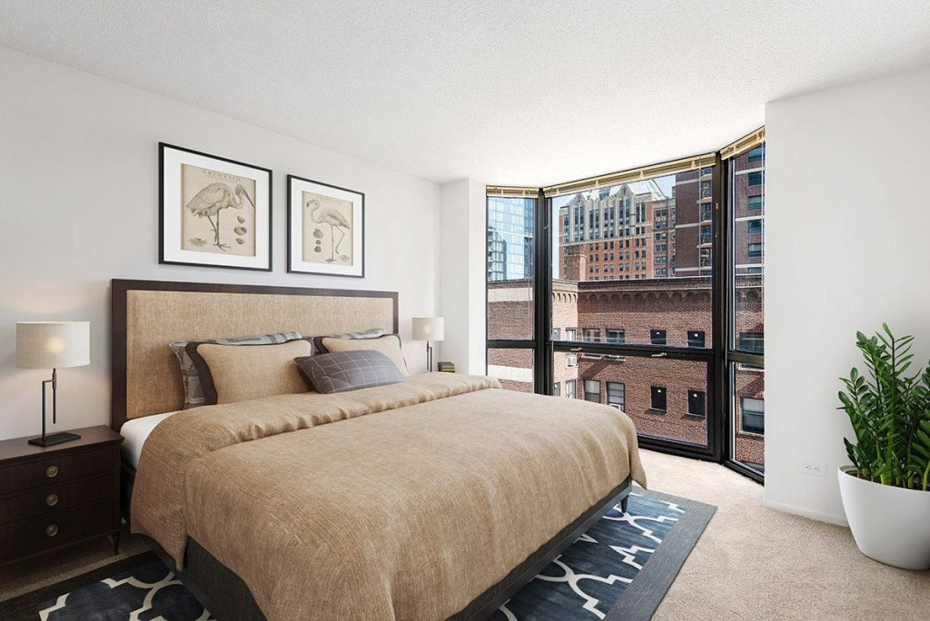 1111 N Dearborn Bedroom with View Interior Chicago Apartments Gold Coast - 5