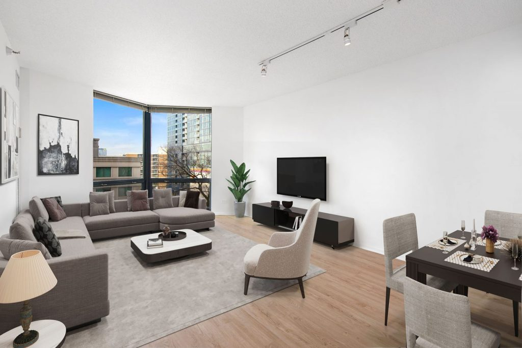 1120 N LaSalle Living Room Interior with View Chicago Apartments Gold Coast - 1