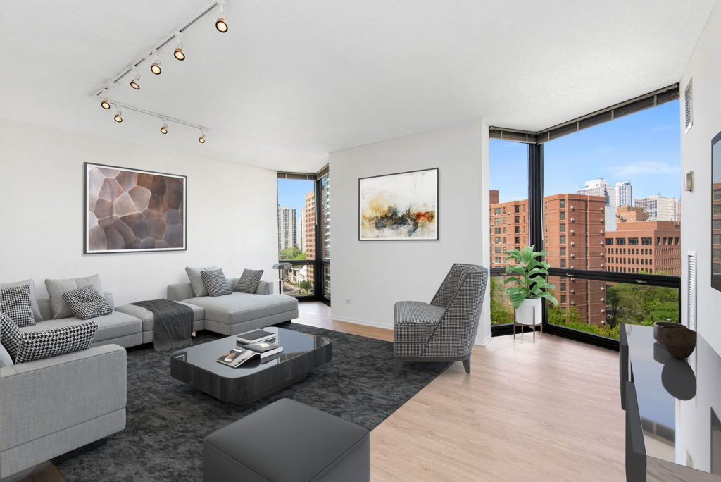 1120 N LaSalle Living Room with View Interior Chicago Apartments Gold Coast - 2
