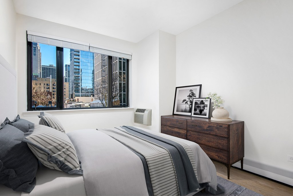 20 E Scott Bedroom with View Interior Chicago Apartments Gold Coast - 1
