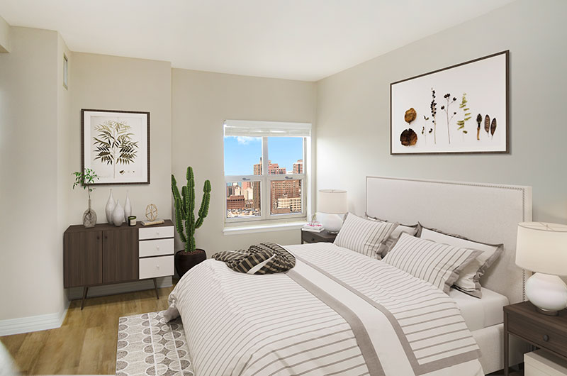 100 W Chestnut Bedroom with View Interior Chicago Apartments River North - 4