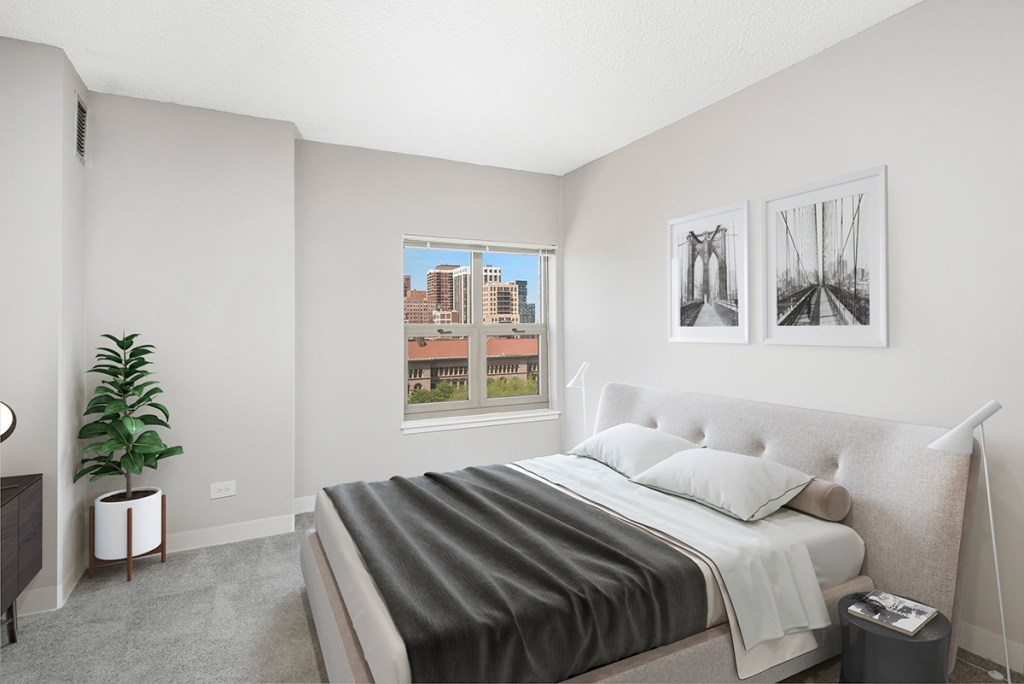 100 W Chestnut Bedroom with View Interior Chicago Apartments River North - 1