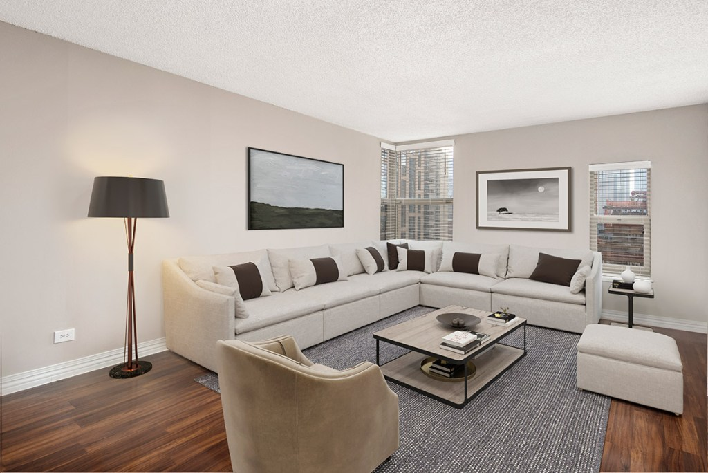 100 W Chestnut Living Room Interior Chicago Apartments River North - 3