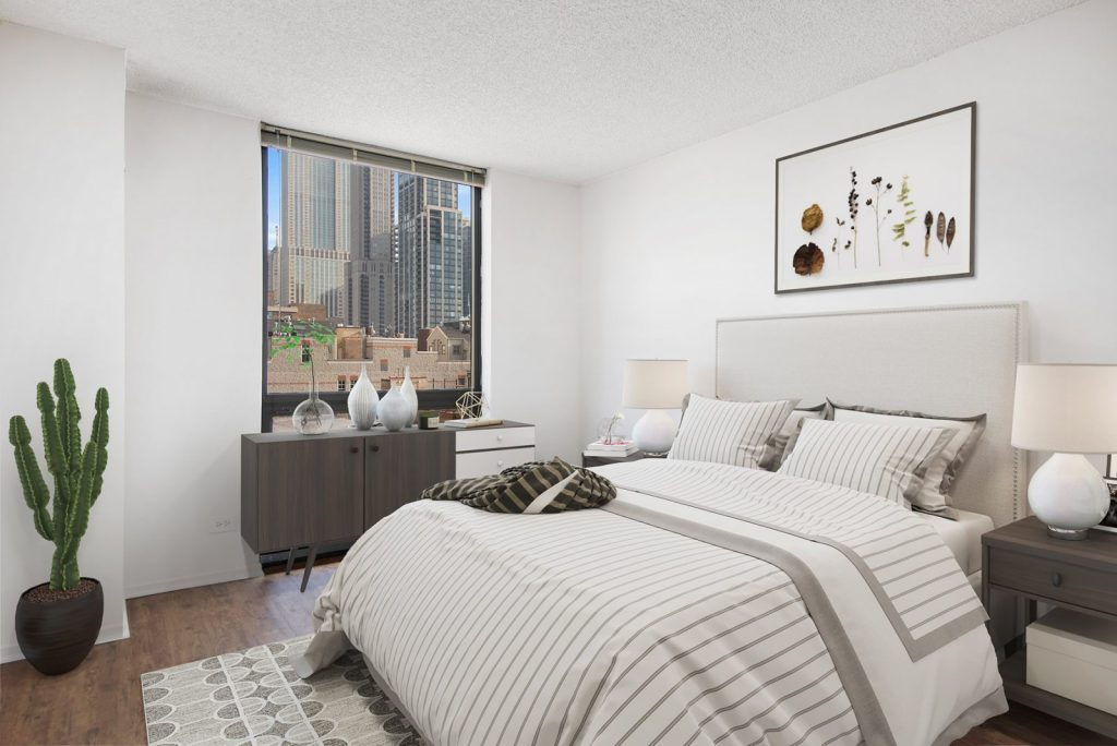 1000 N LaSalle Bedroom with View Interior Chicago Apartments Gold Coast - 2
