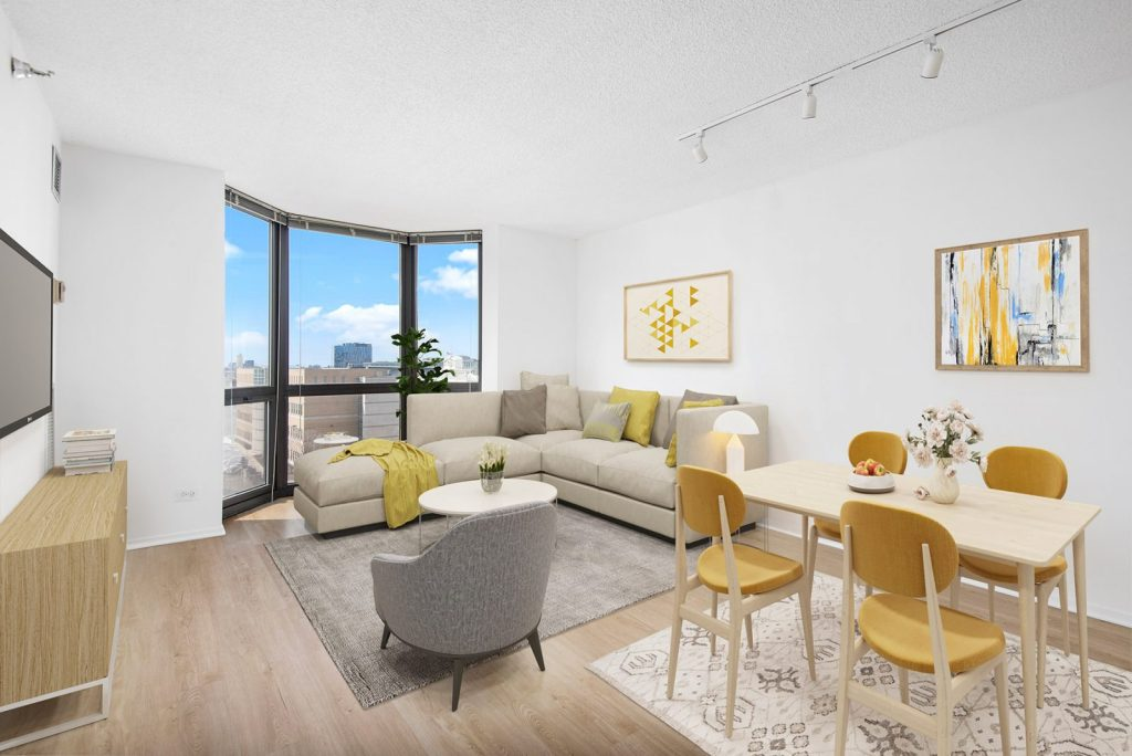 1000 N LaSalle Living and Dining Room with View Interior Chicago Apartments Gold Coast - 1