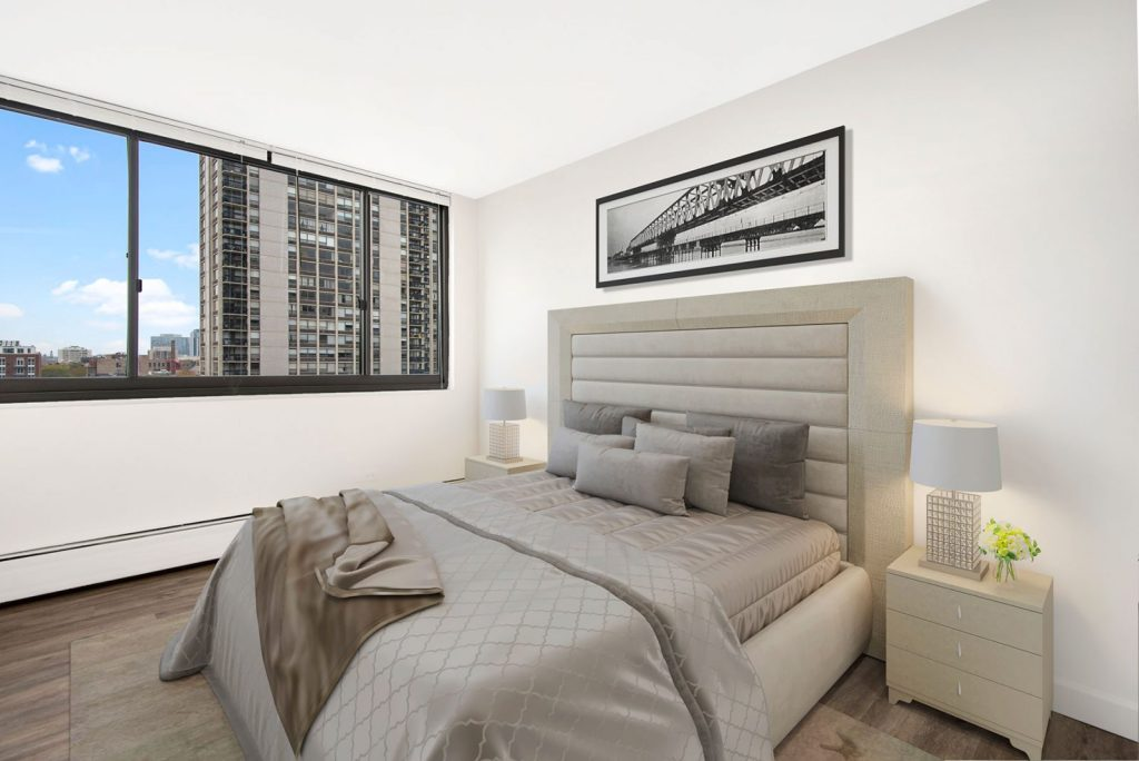 1330 N Dearborn Bedroom with View Interior Chicago Apartments Gold Coast - 1