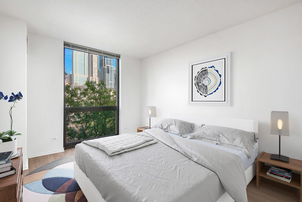 1000 N LaSalle Bedroom with View Interior Chicago Apartments Gold Coast - 4