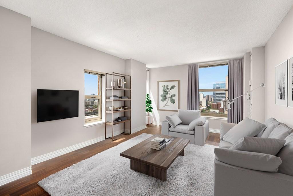 100 W Chestnut Living Room Interior Chicago Apartments River North - 1