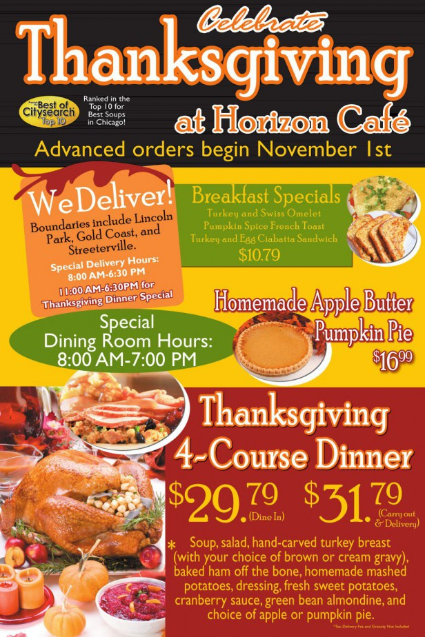 Chicago Apartments, Thanksgiving Dining, Horizon Cafe