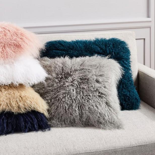 Chicago Apartments, West Elm, Mongolian Lamb Fur Pillow Covers