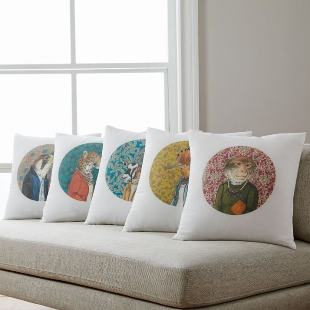 Chicago Apartments, West Elm, Dapper Animal Pillow Covers