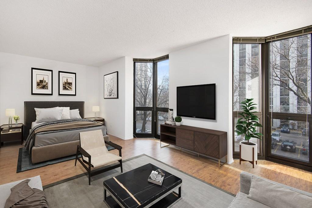1000 N LaSalle Studio Bedroom Interior Chicago Apartments Gold Coast - 1