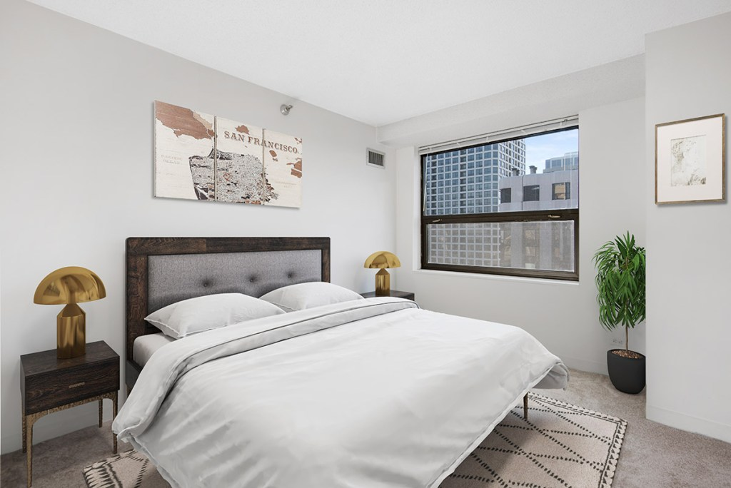 1133 N Dearborn Bedroom with View Interior Chicago Apartments Gold Coast - 4
