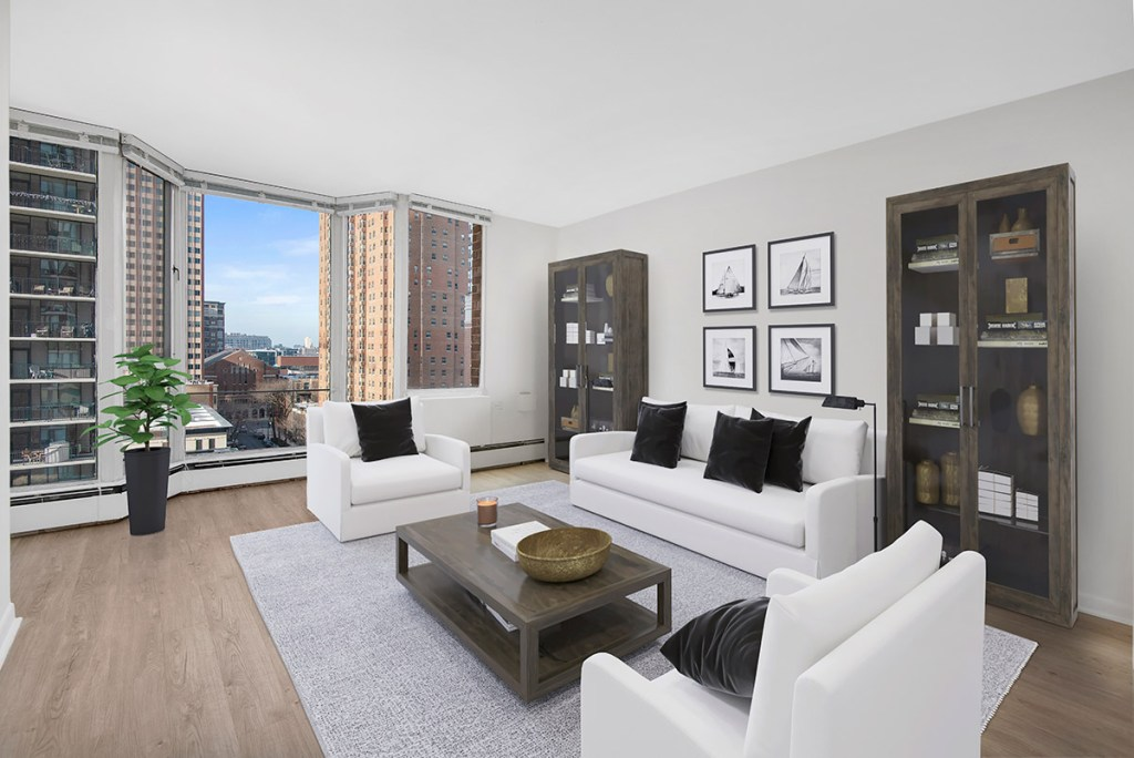 55 W Chestnut Living Room with View Interior Chicago Apartments River North - 1