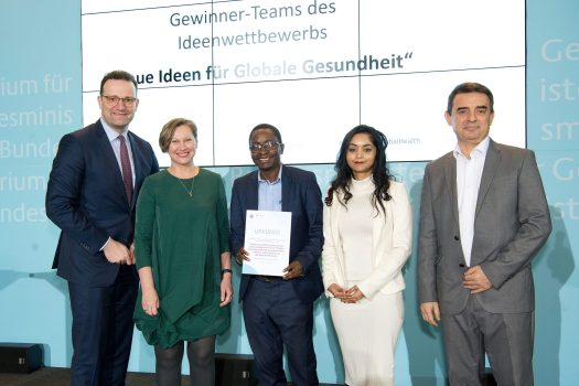 "Award Ceremony ""New Ideas for Global Health"", Global Health Hub Germany. With Federal Minister Jen Spahn"