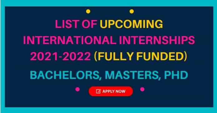 List of Upcoming Internships