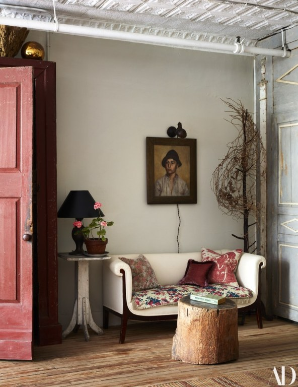 John Derian's shabby chic has an eclectic decor style that mixes different rustic, vintage, and traditional styles