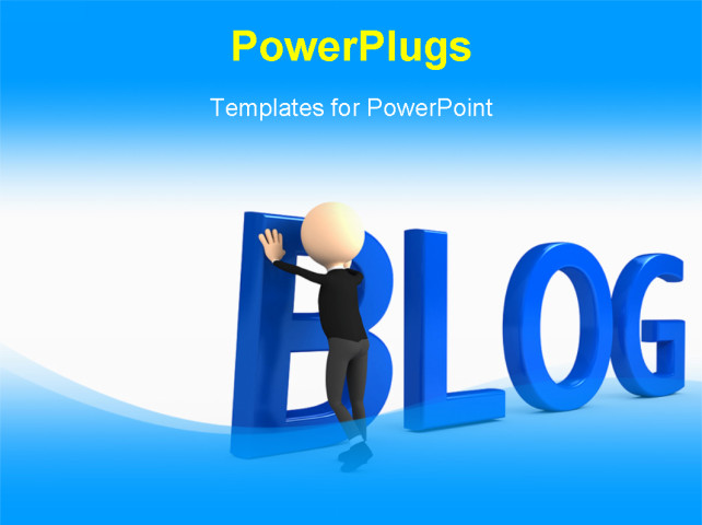 3d person creating powerpoint background of business