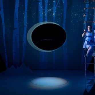 The World is Round: Set Design by Mimi Lien, Light Design by Jiyoun Chang, Projections Design by Hannah Wasileski, Costume Design by Ilona Somogyi, and Sound Design by Jane Shaw.
