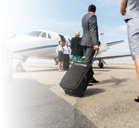 getting on private jet
