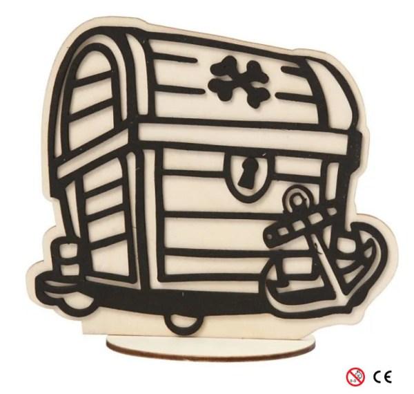 Cofre tesoro de madera natural para pintar montada manualidades