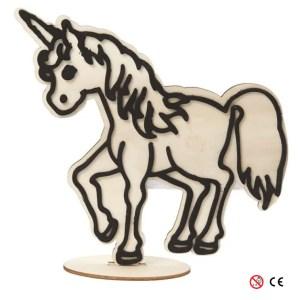 Unicornio de madera natural para pintar montada manualidades