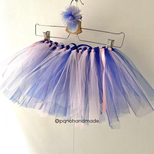 falda tul azul oscuro rosa
