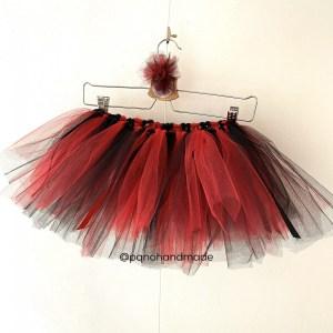 falda tul rojo negro
