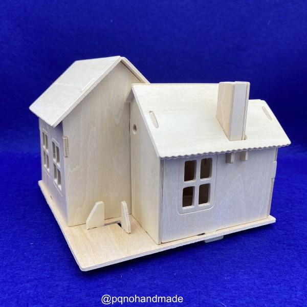 Casa porche suelo cerrado madera natural para para montar 3D y pintar detras manualidades