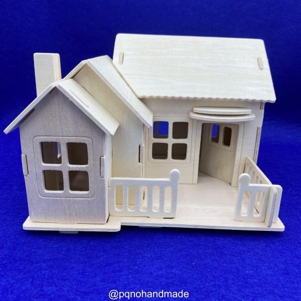 Casa porche suelo cerrado madera natural para para montar 3D y pintar manualidades