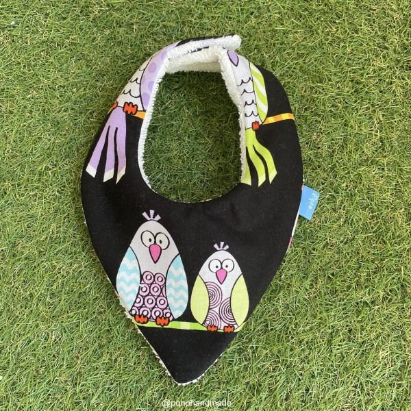bandana babero babas pajaros palomas tela algodon artesanal